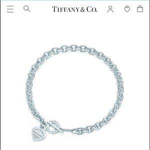 Original Tiffany & co plain heart dog tag necklace